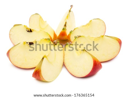 Sliced red apple, showing core. Isolated on white background. - stock photo