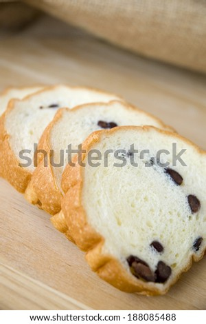 sliced red bean bread
