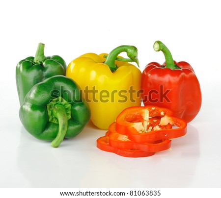 Sliced red bell pepper isolated on white - stock photo