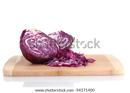 sliced ?red cabbage on wooden chopping board isolated on white - stock photo