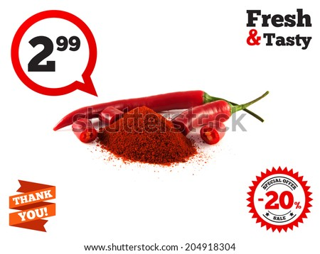 Sliced red chili hot pepper with hill of sweet paprika on white background. Isolated healthy vegetable. - stock photo