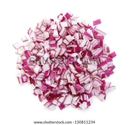 Sliced red onion on white background - stock photo
