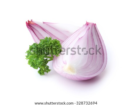Sliced red onions with parsley isolated on white - stock photo