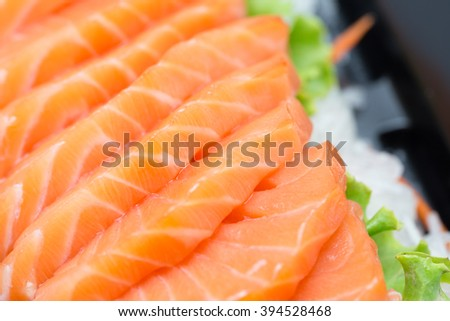 Sliced salmon