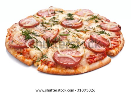 sliced sausage and onion pizza on white background - stock photo