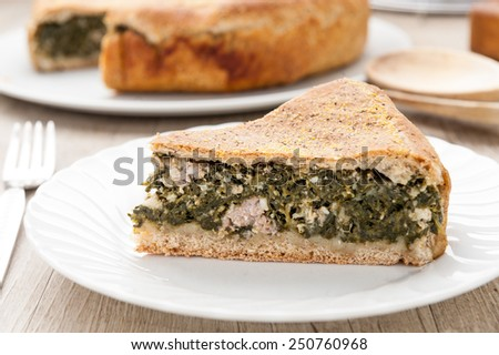 sliced savory pie stuffed with vegetables and sausage - stock photo