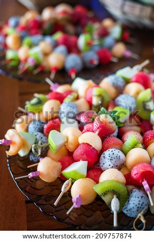 sliced several fruit  for chocolate fondue - stock photo
