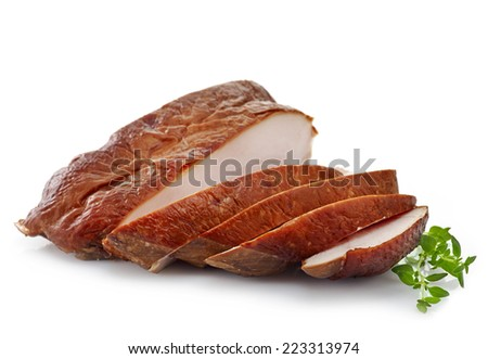sliced smoked chicken breast isolated on a white background - stock photo