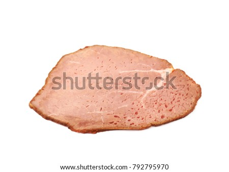 Sliced smoked ham meat isolated over the white background