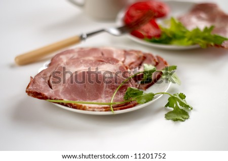 sliced smoked ham on white