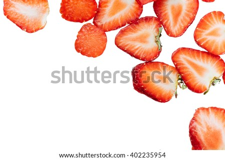 Sliced strawberries food pattern. - stock photo