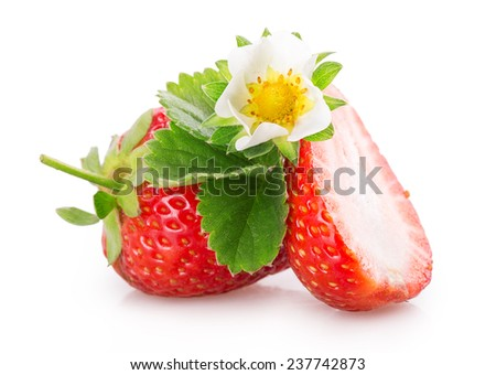 sliced strawberries Isolated on white background