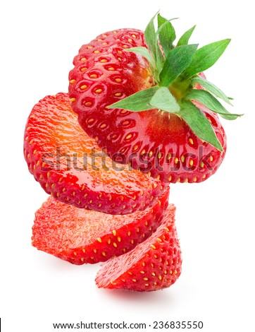 Sliced strawberry isolated on white background - stock photo