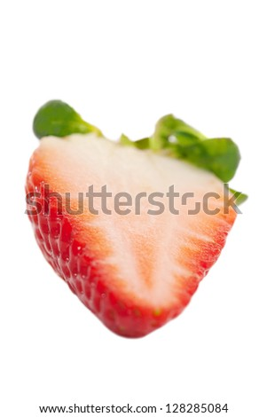 Sliced strawberry on white.