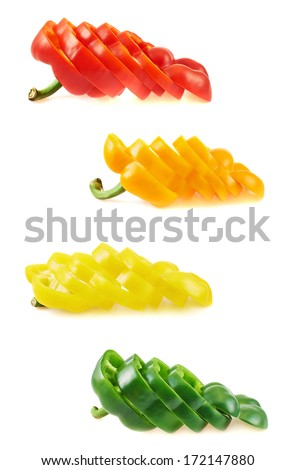 Sliced sweet bell peppers isolated over white background, set of four color versions - stock photo
