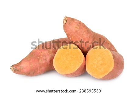 sliced sweet potatoes isolated on white background  - stock photo