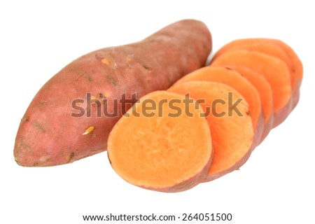 sliced sweet potatoes isolated on white background