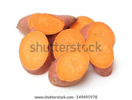 sliced sweet potatoes on white background