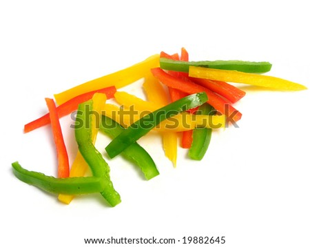 Sliced three color peppers in sticks, on white background - stock photo