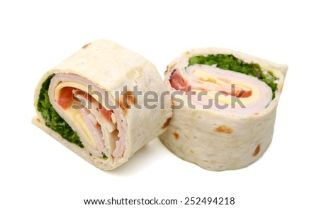 sliced tortilla wraps with meat, vegetable