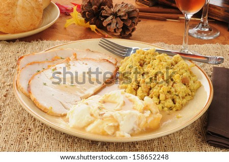 Sliced turkey with mashed potatoes and gravy - stock photo