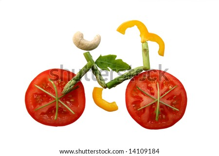 Sliced vegetables in form of a bicycle - stock photo