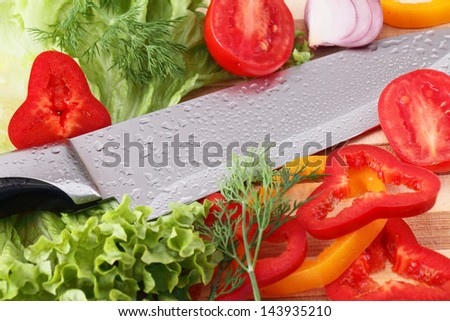 Sliced �¢??�¢??vegetables on a wooden board fennel salad onion parsley peretspomidor - stock photo