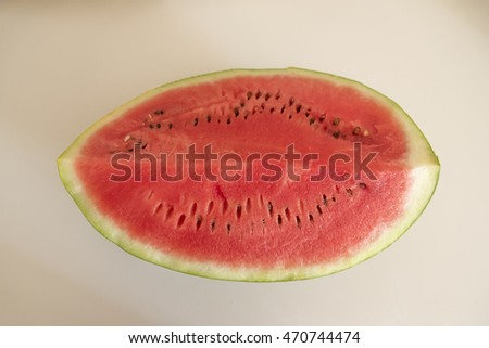 Sliced watermelon from above