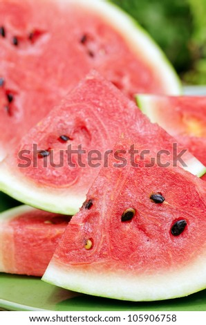 Sliced watermelon on a plate. - stock photo