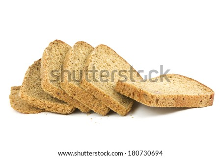sliced wheat bread isolated on white - stock photo