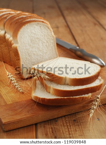 Sliced white bread - stock photo