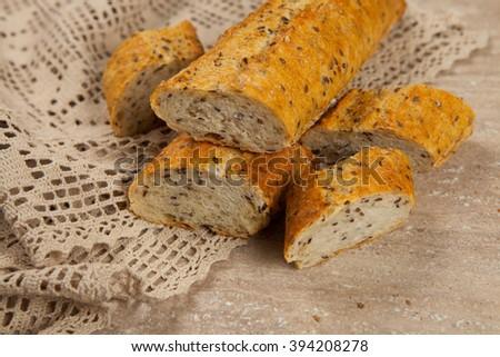 Sliced white bread. fresh sliced bread. Sliced French Baguette - stock photo