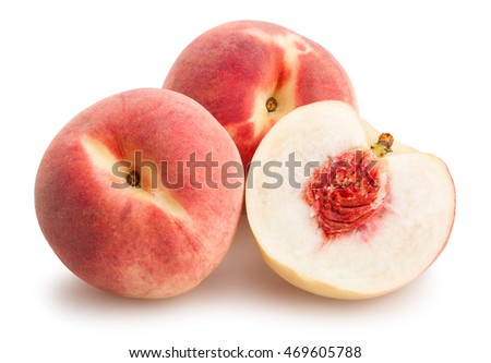 sliced white peach isolated