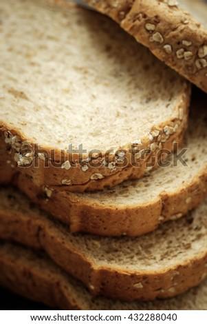Sliced whole wheat bread - stock photo