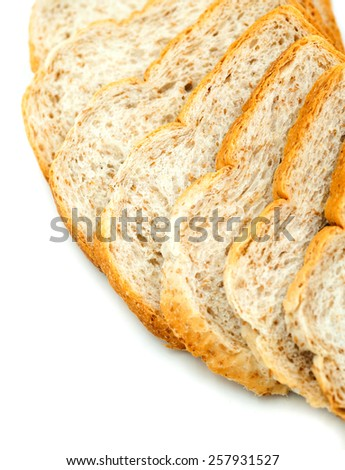 sliced whole wheat bread isolated on white background