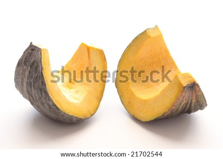 sliced yellow pumpkin isolated on white background. - stock photo