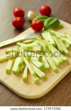 sliced ??zucchini strips - stock photo