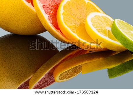 slices of an orange. symbolic photo for healthy vitamins with fresh fruit - stock photo