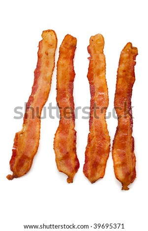 Slices of bacon on a white background - stock photo