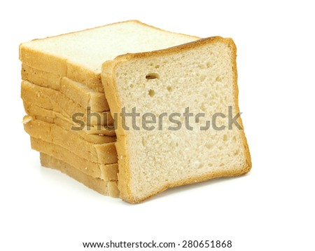 Slices of bread for toasting on a white background    - stock photo