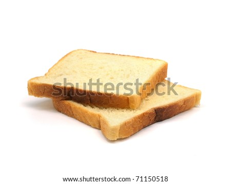 slices of bread on a white background - stock photo