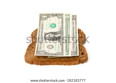 Slices of brown bread with 1 US dollar bills sandwich filling