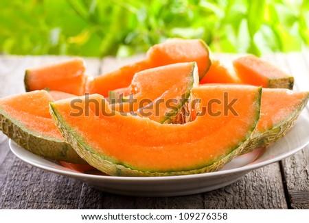 slices of cantaloupe melon - stock photo