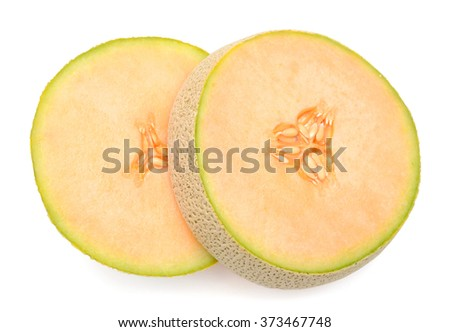 slices of cantaloupe melon isolated on white