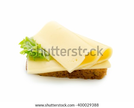 slices of cheese on bread toast isolated on white background with clipping path - stock photo