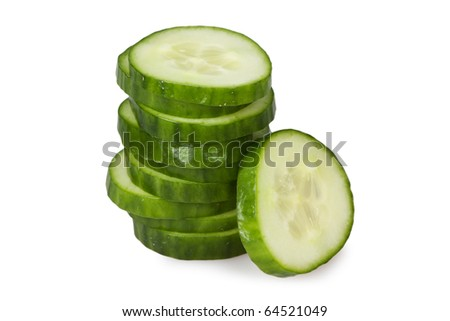 Slices of cucumber isolated on white
