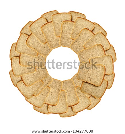 Slices of dark bread isolated over white background - stock photo