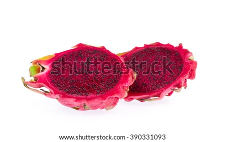 slices of Dragon fruit isolated on white background