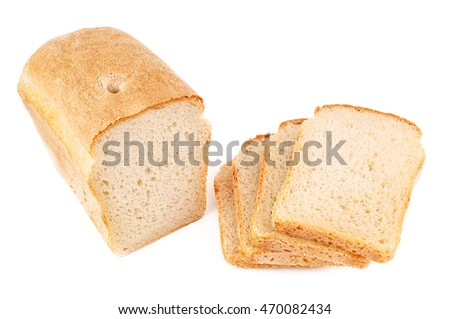 slices of fresh bread on white background