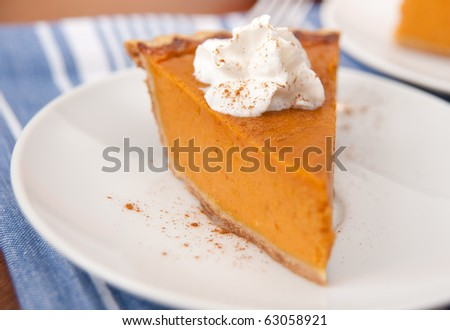 Slices of Freshly Baked Pumpkin Pie - stock photo